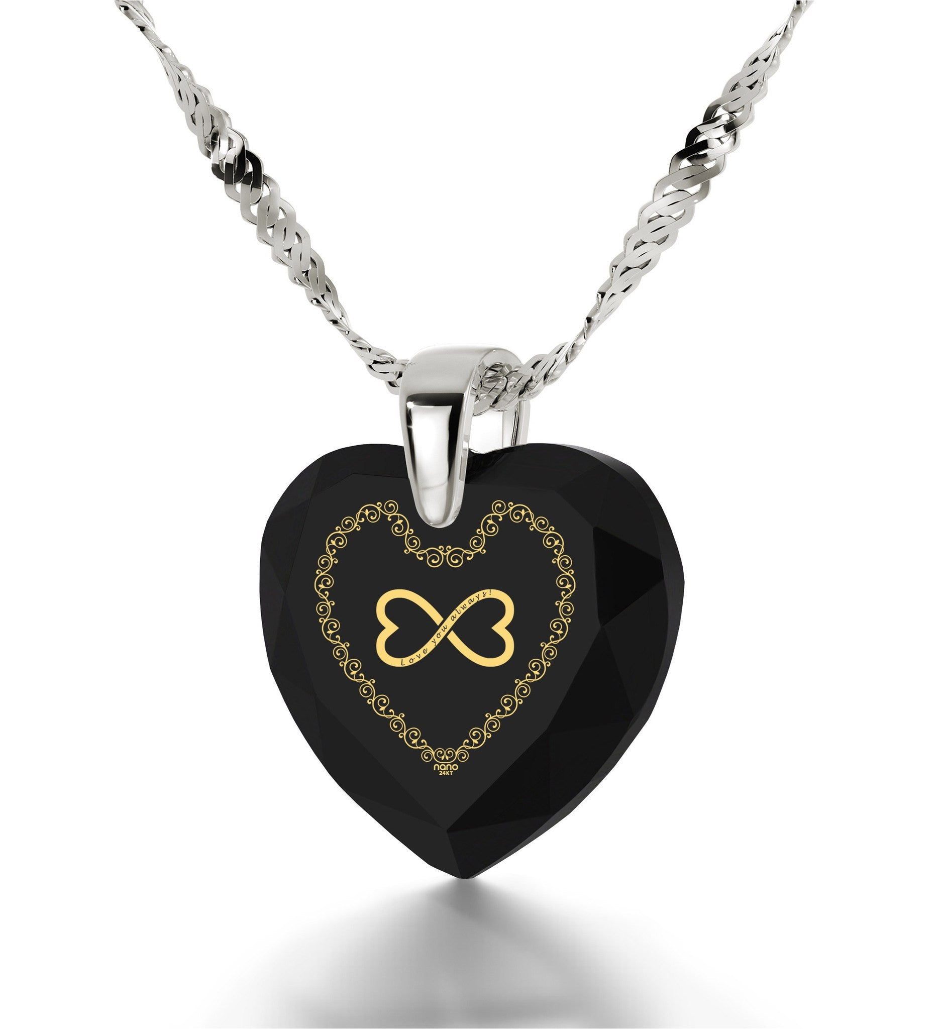"""What to Get Wife for Christmas, Black Heart Stone SilverNecklace, Valentine's Day Gifts for Girlfriend"""