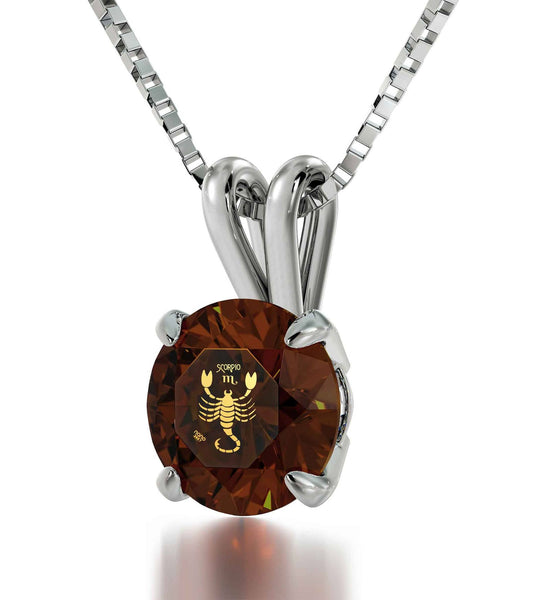 """What To Get Your Best Friend for Her Birthday, Brown Scorpio Sign Pendant, Birthstone Necklace for Mom"""