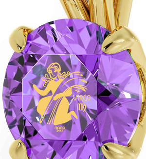 """Good Gifts for Girlfriend Virgo Sign Engraved on Gold Chain With Purple Pendant, Presents for Sisters """