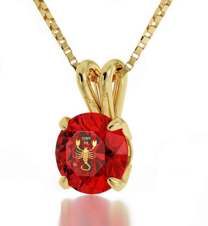 """Good Valentine Gifts  for Girlfriend Scorpio Zodiac Sign Engraved on Red Pendant Necklace Women's Gold Jewelry """