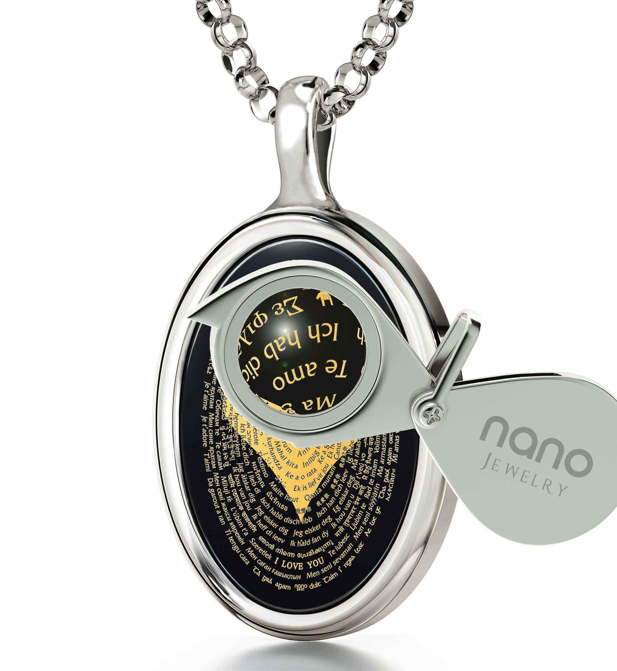 "Valentine'S Day Gifts for Her Jewelry: ""I Love You"" in 120 Languages - Oval - Nano Jewelry"