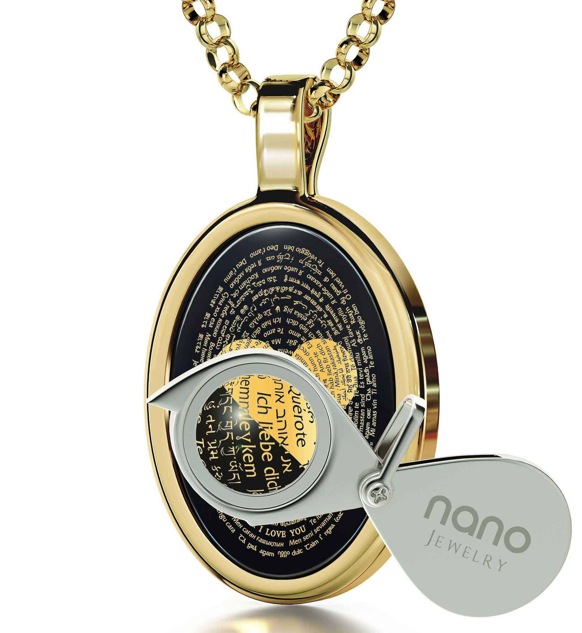 "Best Luxury Gifts for Her: ""I Love You"" in All Languages - Oval - 14K Gold - Nano Jewelry"