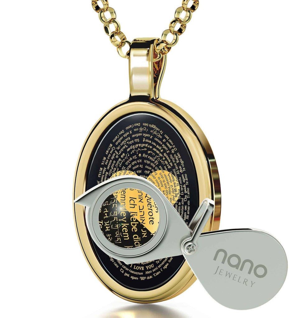 What to Get Wife for Christmas, Love in Other Languages, Dainty 14k Gold Necklace, Valentine's Presents for Her by Nano
