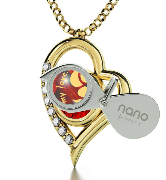 """What to Get Your Girlfriend forValentines Day, Cute Heart Frame Gold Plated Jewelry, Xmas Ideas for Wife, by Nano"""