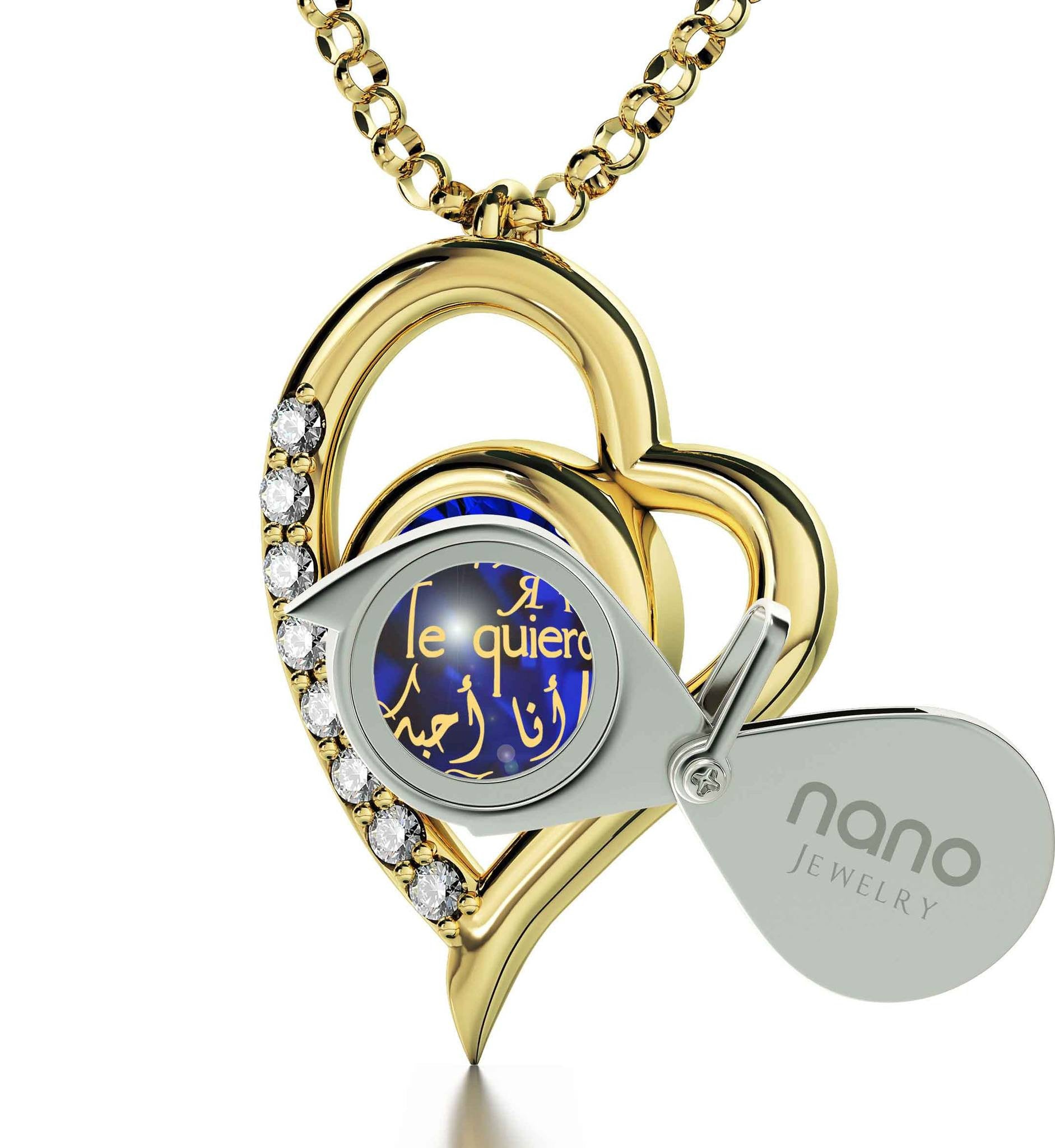"What to Get Your Girlfriend forValentines Day,""TeQuiero"",CZ Blue Stone, Wife Birthday Ideas by Nano Jewelry"