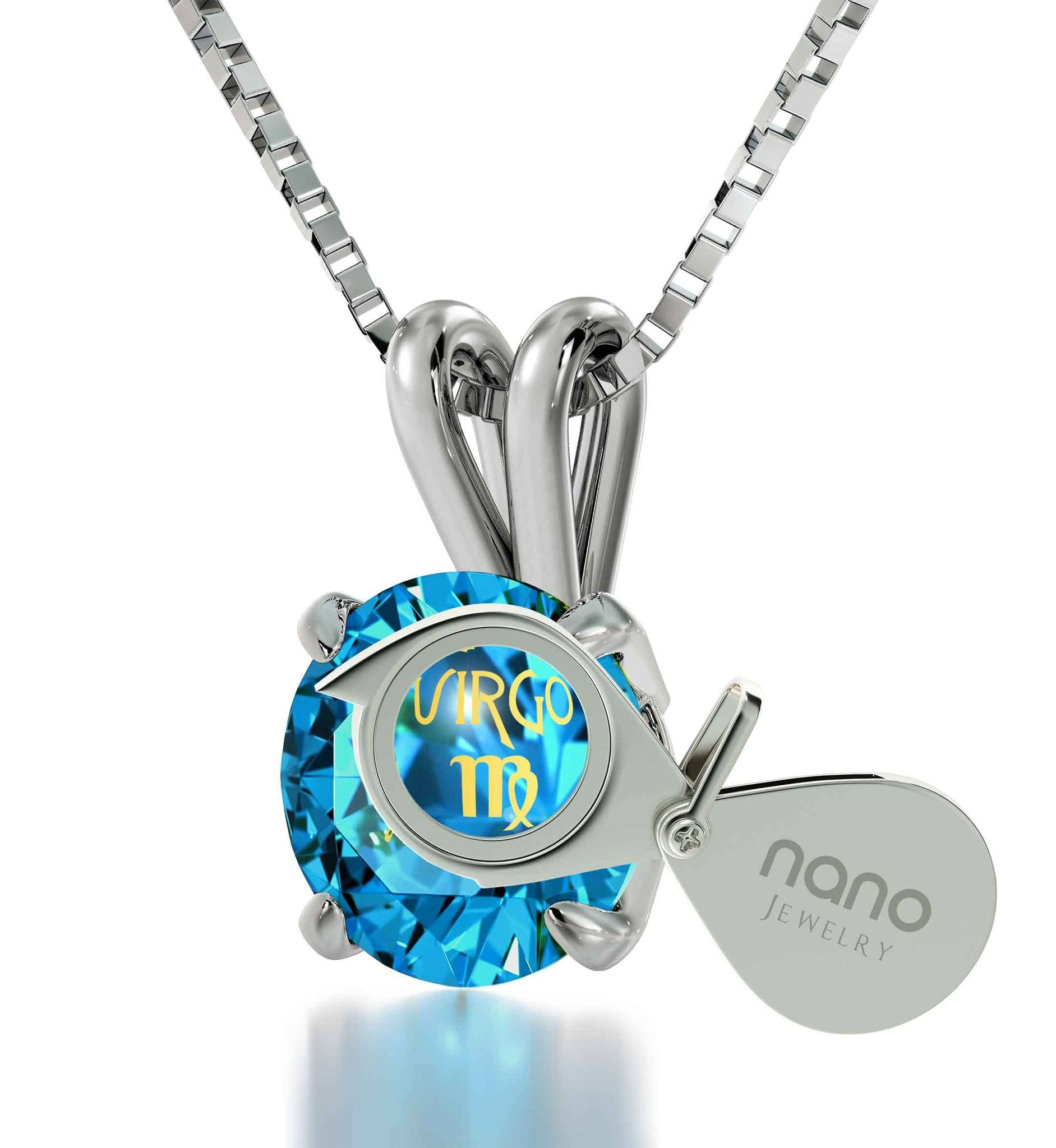 Christmas Present Ideas For Girls Virgo Sign Engraved On Blue Topaz Jewellery Cool