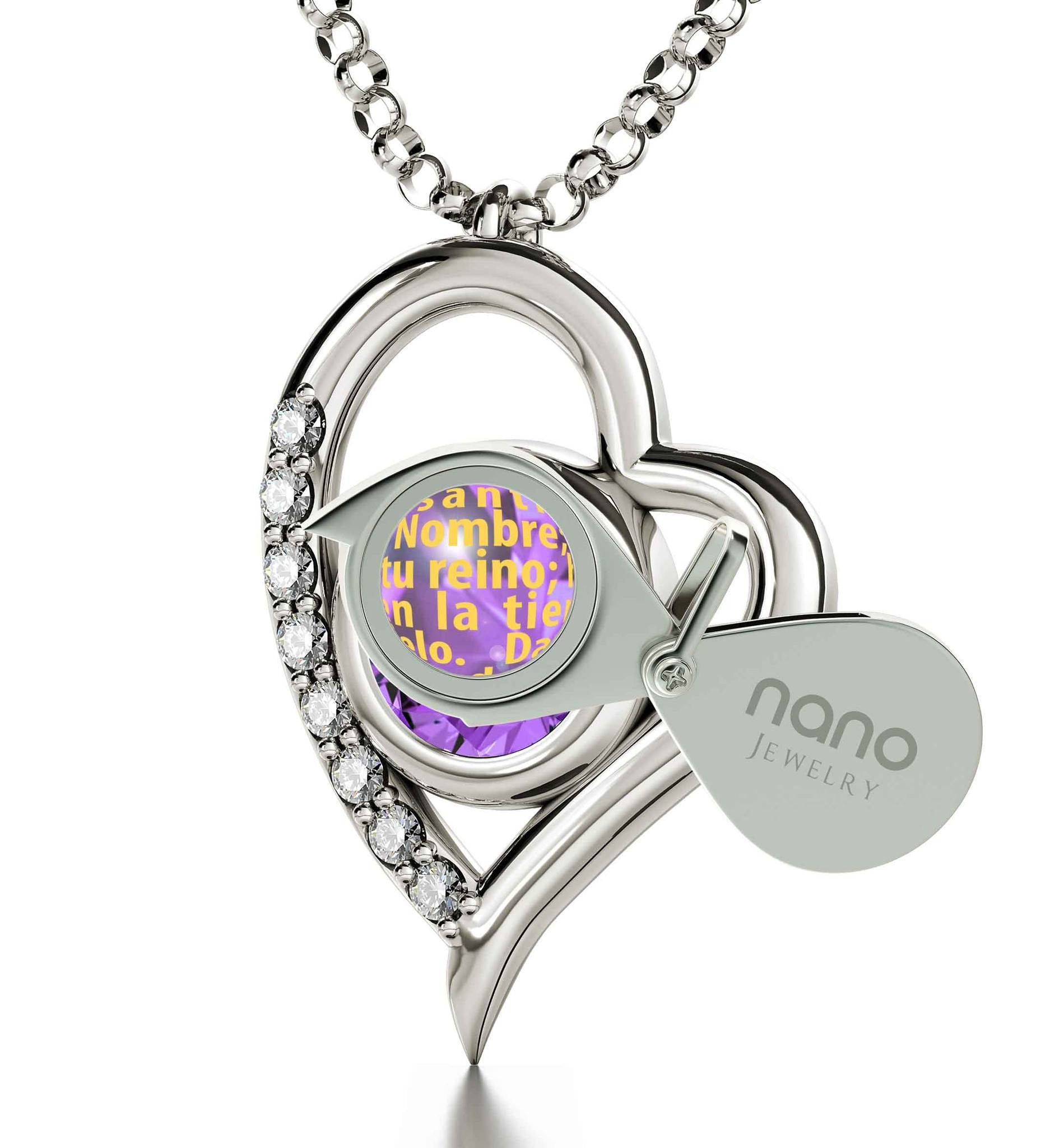 """Cute 14k White Gold Padre Nuestro Jewelry, What to Buy Wife for Christmas, Christian Gifts for Women, by Nano"""