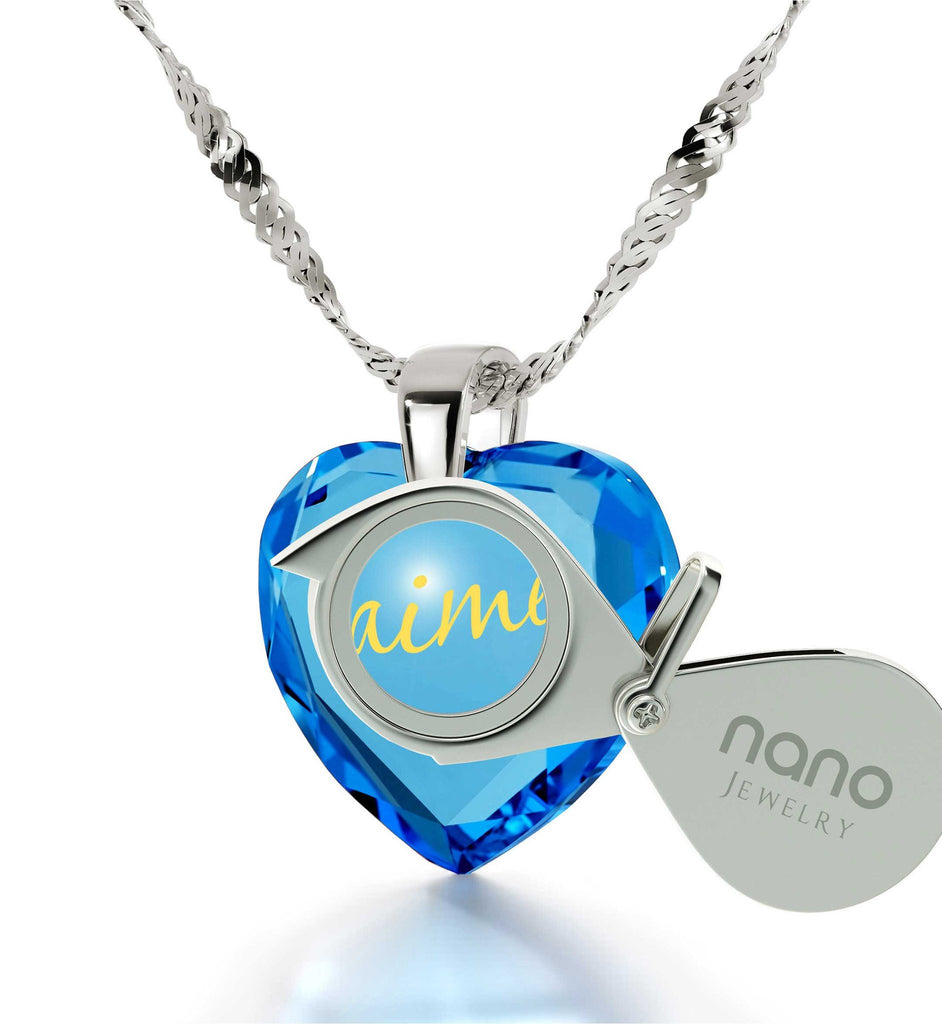 "White Gold Chains for Women,""Je T'aime"",CZ Jewelry, Birthday Present Ideas for Her, Nano"
