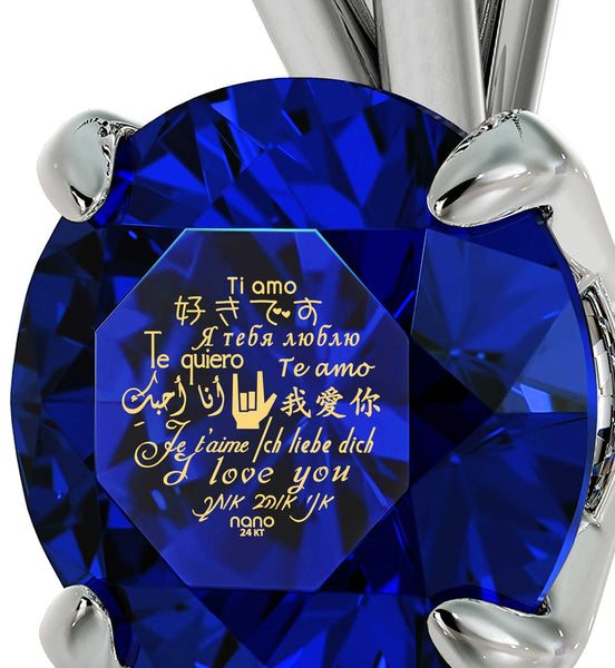 "White Gold Pendants for Womens: ""I Love You"" Engraved in 24k, CZ Blue Stone, Cute Valentines Day Gifts for Girlfriend"