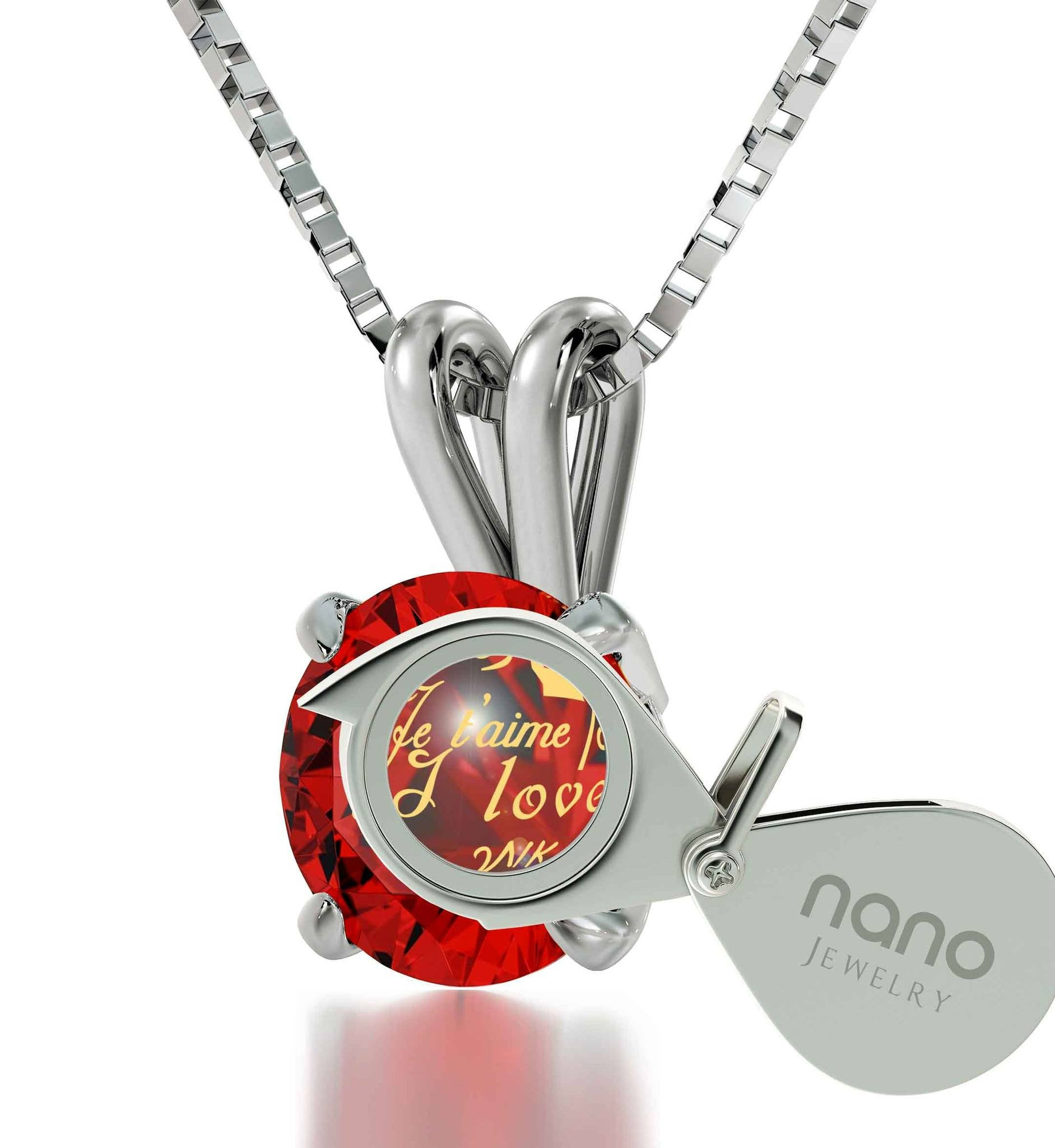 "White Gold Pendants for Womens: ""Je T'aime"", Red Pendant Necklace, Best Valentine Gift for Girlfriend by Nano Jewelry"