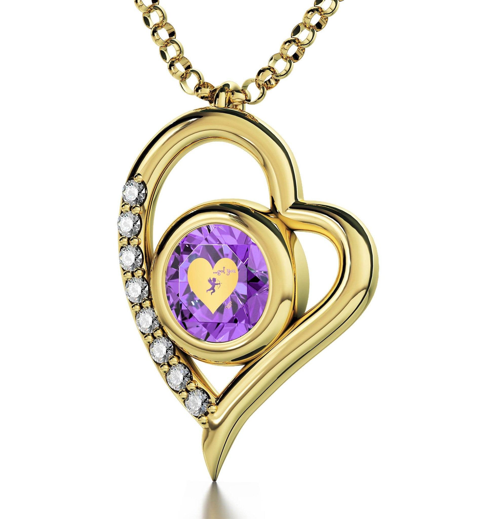 """What to Get Wife for Christmas, 14k Gold Jewelry with Purple CZ Pendant, Great Gifts for Girlfriend"""