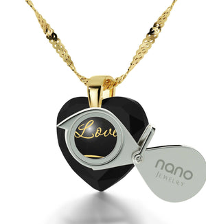 """What to Get Wife for Christmas, Engraved Necklaces, CZ Black Heart, Cute Birthday Ideas for Her by Nano Jewelry"""