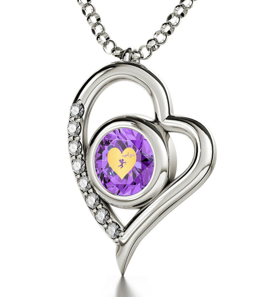 """What to Get Wife for Christmas, 14k White Gold Jewelry with Purple CZ Pendant, Great Gifts for Girlfriend"""