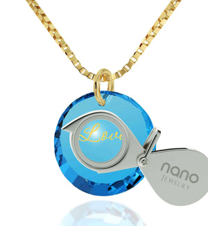 Wife Birthday Ideas, Blue Stone Pendant, Gold Chains 14k, Good Anniversary Gifts for Her, Nano Jewelry