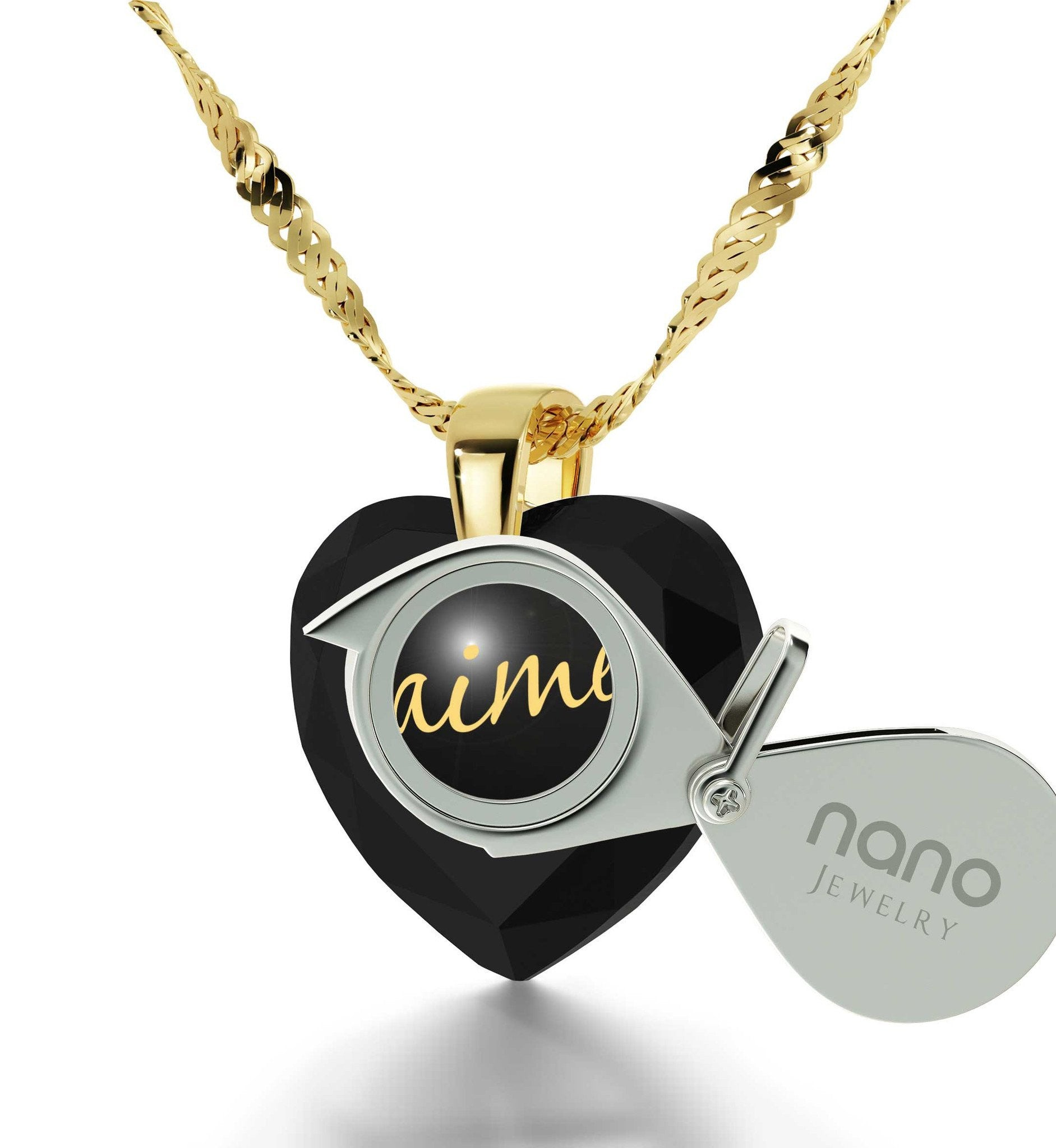 "Wife Birthday Ideas,""I Love You"" in French, CZ Jewelry, 7th Anniversary Gift for Her, Nano"