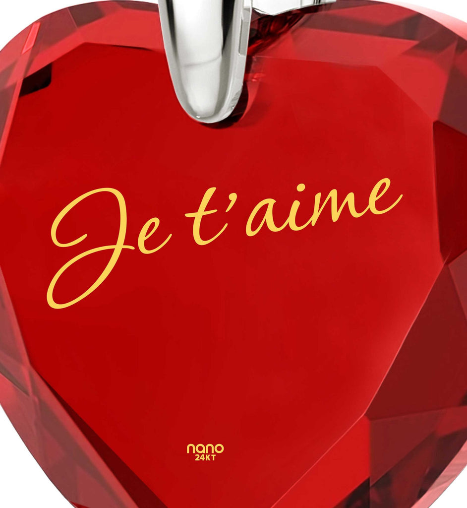 ": Wife Birthday Ideas,""I Love You"" in French,CZ Jewelry, 7th Anniversary Gift for Her, Nano"