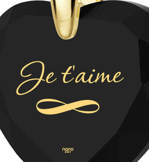 """Christmas Gifts for Girlfriend,""I Love You"" in French – ""Je T'aime"" Engraved in14k Pure Gold, by Nano Jewelry"""