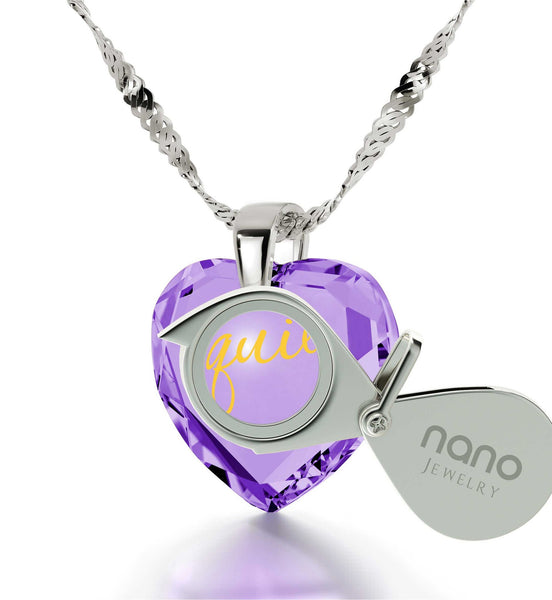 "Wife Birthday Ideas,""I Love You"" in Spanish, Meaningful Jewelry, 7th Anniversary Gift for Her, Nano"