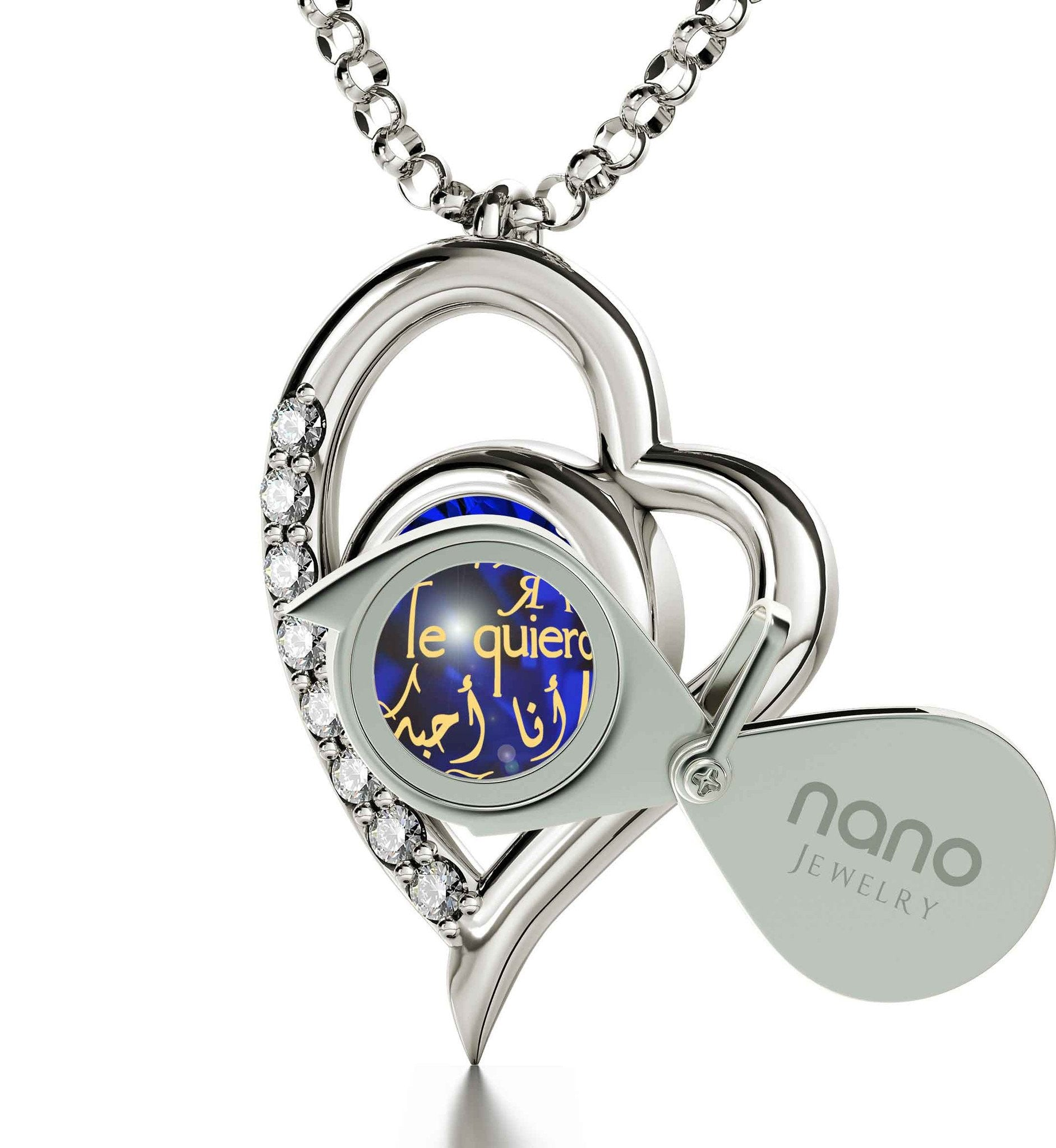 "Good Presents for Girlfriend: ""Je T'aime"", CZ Aquamarine Stone, Xmas Ideas for Her by Nano Jewelry"