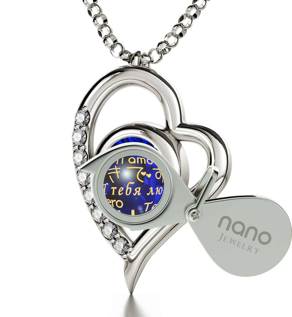 "Girlfriend Gifts for Christmas: ""I Love You"" in 12 Languages, Aquamarine Stone Jewelry, Cute Necklaces for Her"