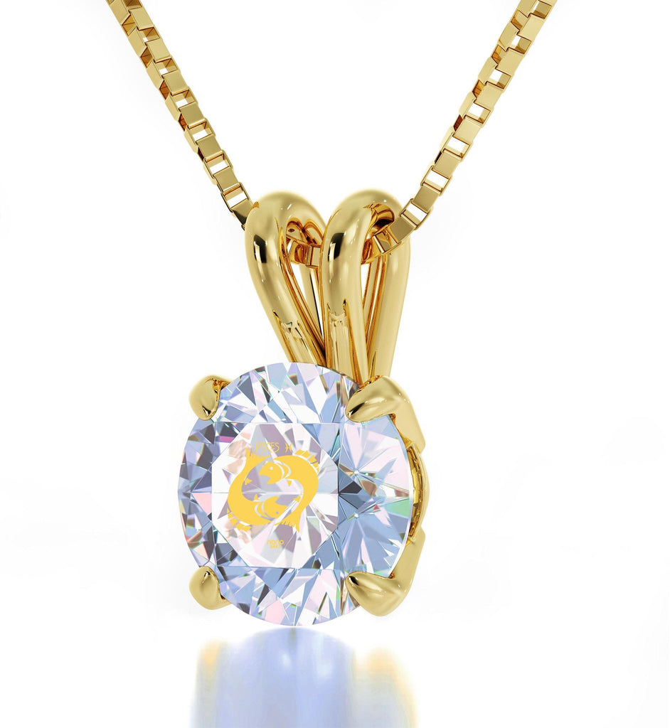 """CuteNecklaces for Her,PiscesSign in 24k,CrystalStoneJewelry,ValentinesPresents for Girlfriend"""