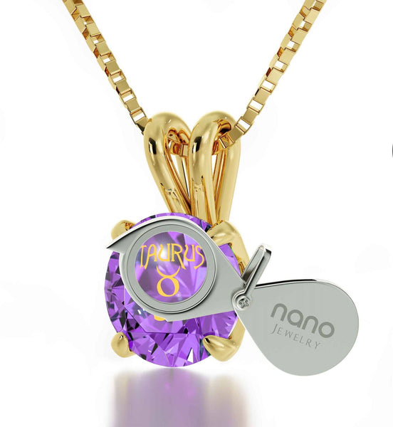 """What to GetWife for Christmas,Real14kGoldNecklace,PurpleStoneJewelry,BirthdayGift for TeenageGirl"""