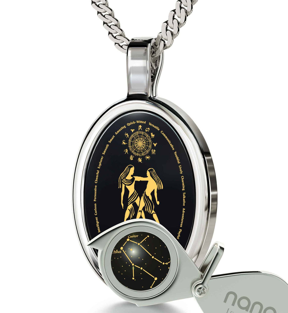 Wife Birthday Ideas: Zodiac Sign Necklace, Women's 14k White Gold Jewelry, What to Buy My Girlfriend for Christmas by Nano