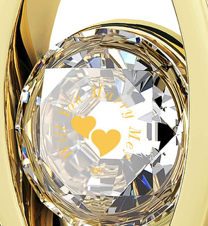 """""Will You Marry Me"" Engraved in 24k on Clear Swarovski, Romantic Way to Propose, Gold Plated Eye Necklace"""