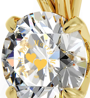 """""Will You Marry Me"" Engraved in 24k on Clear Swarovski, Romantic Ways to Propose, The Love Necklace, 14k Gold Solitaire"""