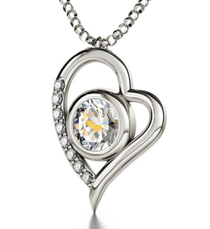 """""Will You Marry Me"" Engraved in 24k on Crystal Swarovski, Promise Necklace, 14k White Gold Diamond Pendant, Engagement Idea"""