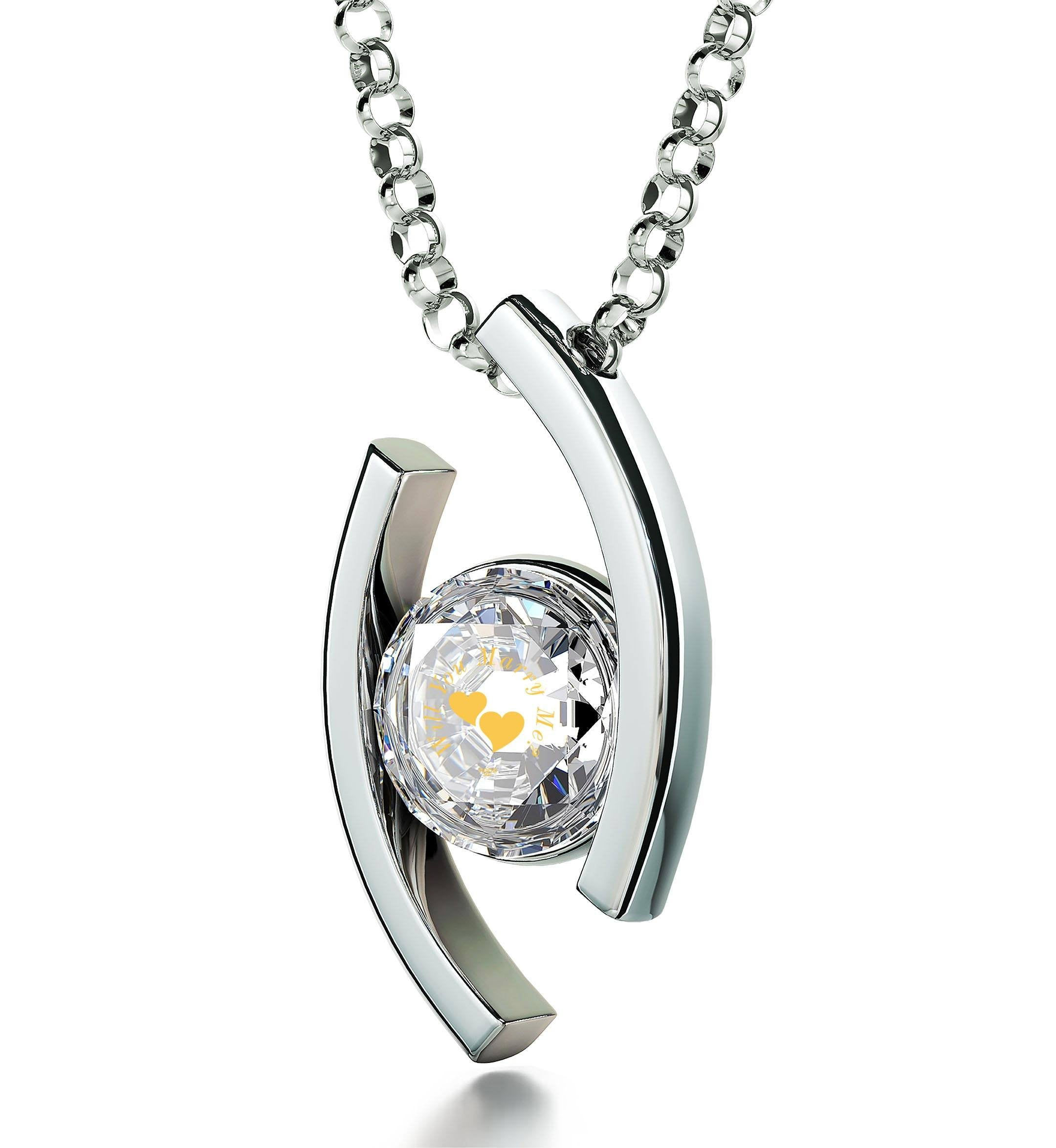"""""Will You Marry Me"" Engraved in 24k on Crystal Swarovski, Promise Necklace, 925 Silver Eye Pendant, Engagement Idea"""