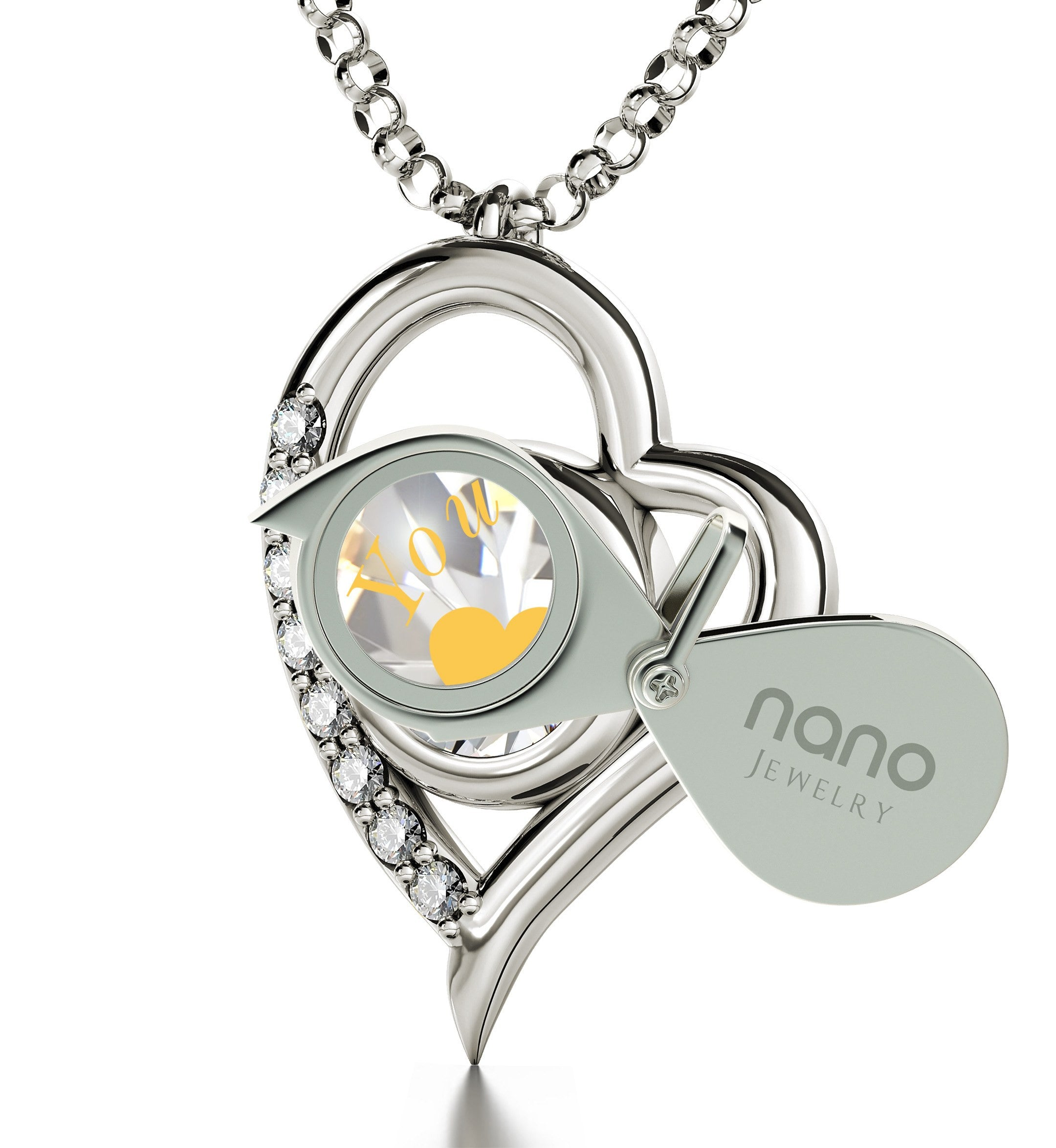 """""Will You Marry Me"" Engraved in 24k on Crystal Swarovski, Romantic Ways to Propose, Silver Heart Necklace"""