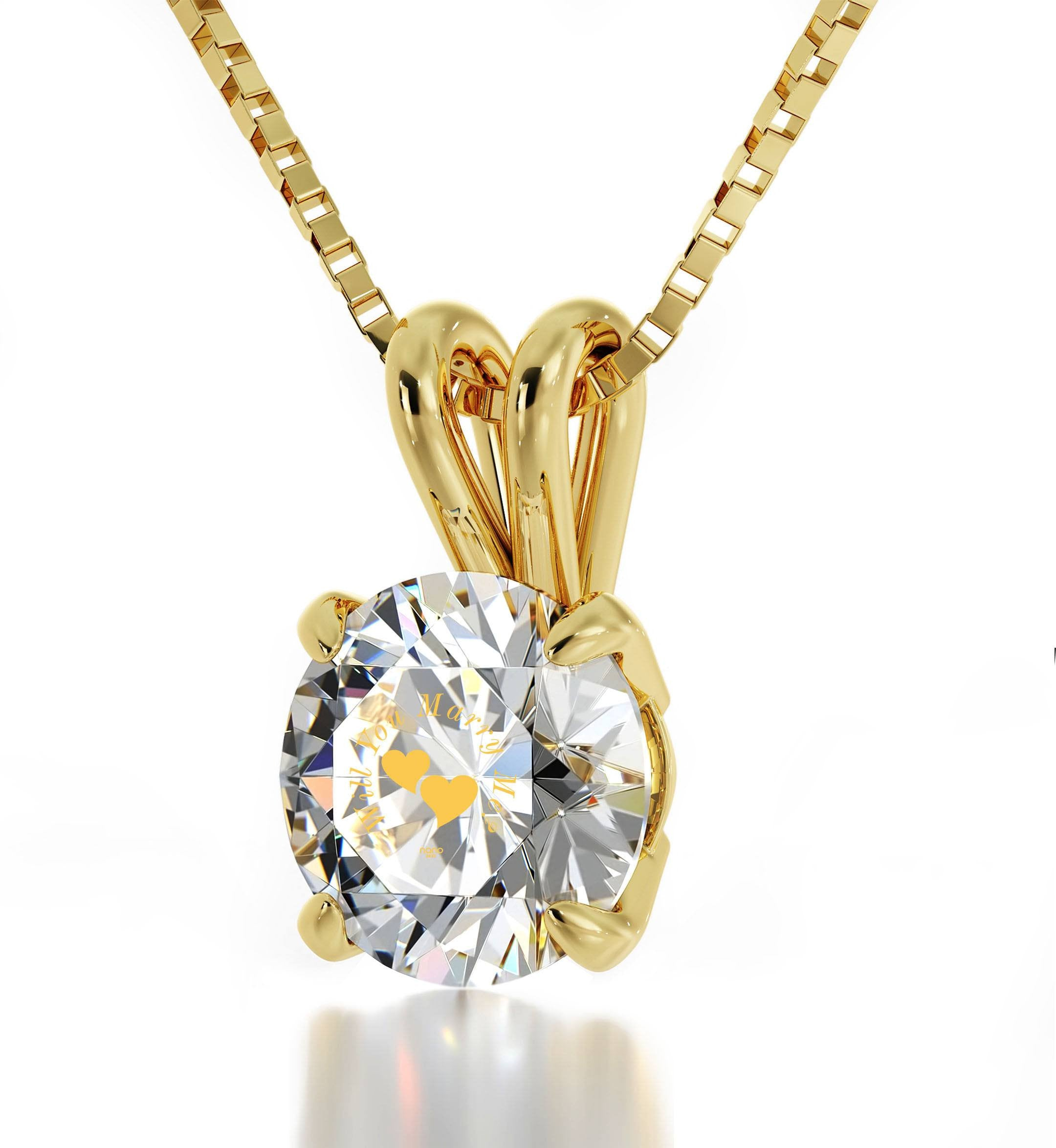 """""Will You Marry Me"" Engraved in 24k Swarovski Crystal, Romantic Way to Propose, The Love Necklace, 14k Gold Solitaire"""