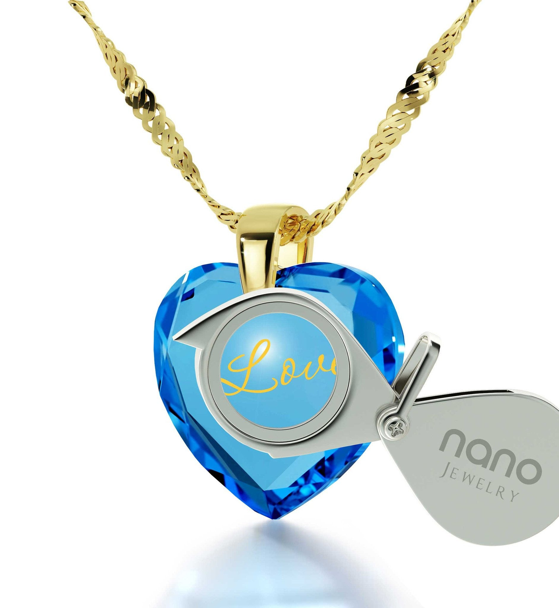 Women's Gifts for Christmas, I Love You Blue Stone Jewelry, Birthday Ideas for Wife, by Nano