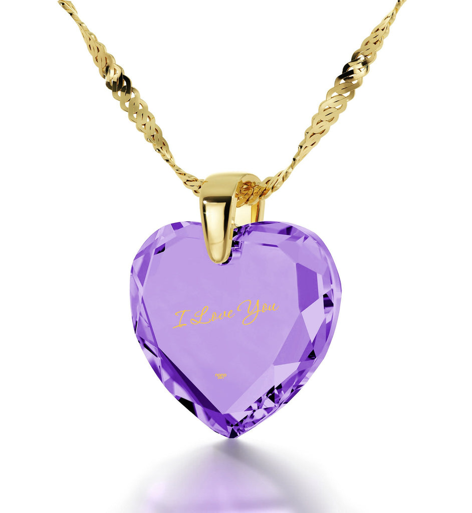 Women's Gifts for Christmas, I Love You Engraved Necklaces, Birthday Present Ideas for Girlfriend