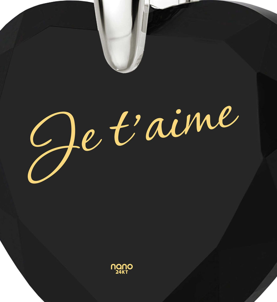 "Women's Gifts for Christmas,""Je T'aime"",CZ Jewelry, Love in Different Languages, Nano"