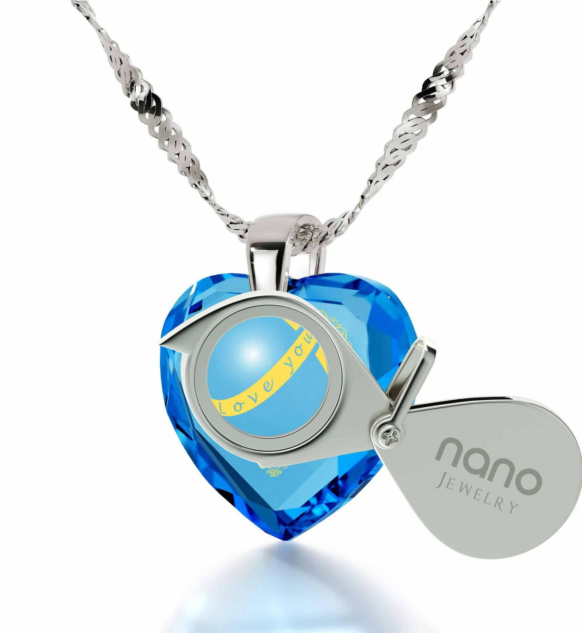 """What to Get Girlfriend for Christmas, Unusual Blue Stone Jewelry, Gift for Wife Birthday, by Nano """