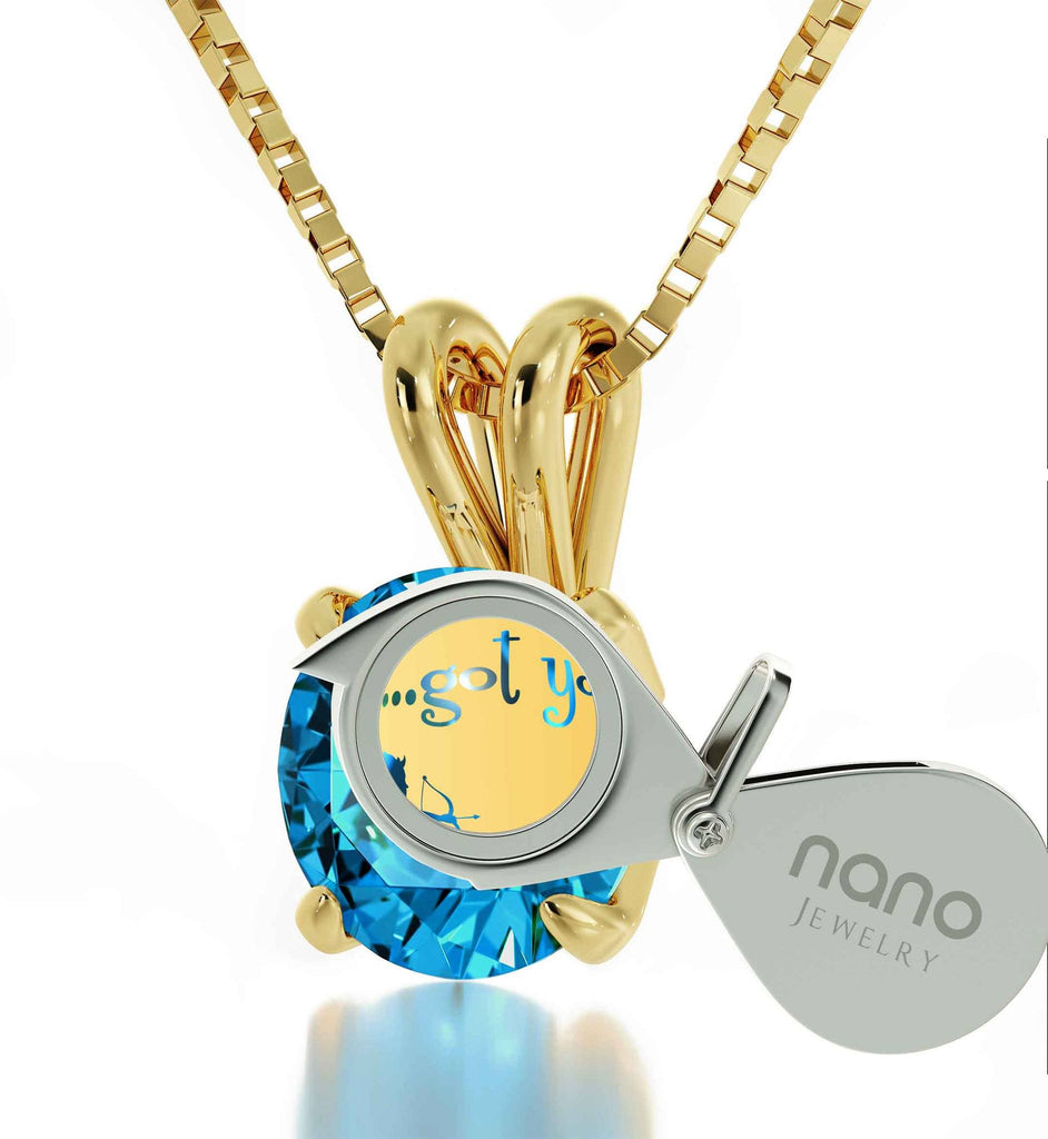 """Womens Christmas Ideas,CZ Blue Stone Pendant with 14k Pure Gold Chain, Love Gifts for Girlfriend"""