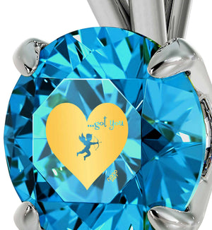 """Womens Christmas Ideas,CZ Blue Stone Pendant with 14k Pure White Gold Chain, Love Gifts for Girlfriend"""