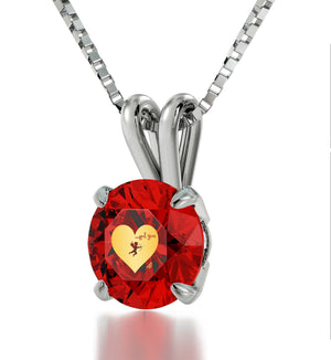 """Valentines Ideas for Wife, Unique Red Stone Engraved Necklace, Best Presents for Girlfriend, by Nano Jewelry"""