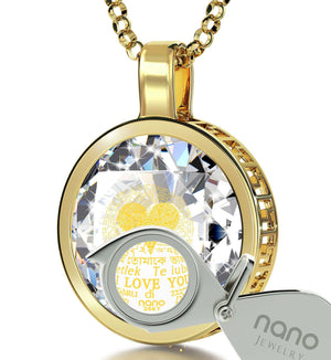"Cute One Year Anniversary Gifts For Her: ""I Love You"" in 120 Languages  - Silver Gold Plated - 14K Gold - Nano Jewelry"