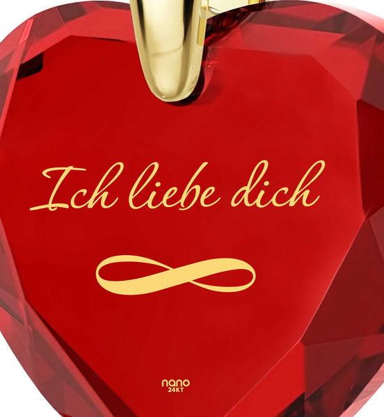 """Women's Xmas Gifts, ""I Love You"" Jewelry, ""IchLiebe Dich"", Ladies Christmas Presents"""