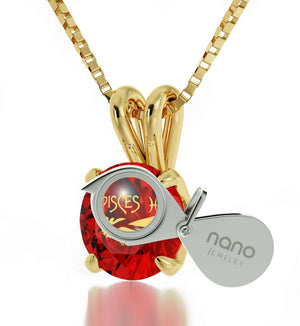 """WomensXmasGifts,PiscesSign,RedStoneJewelry,BirthdayPresent for Sister by Nano"""