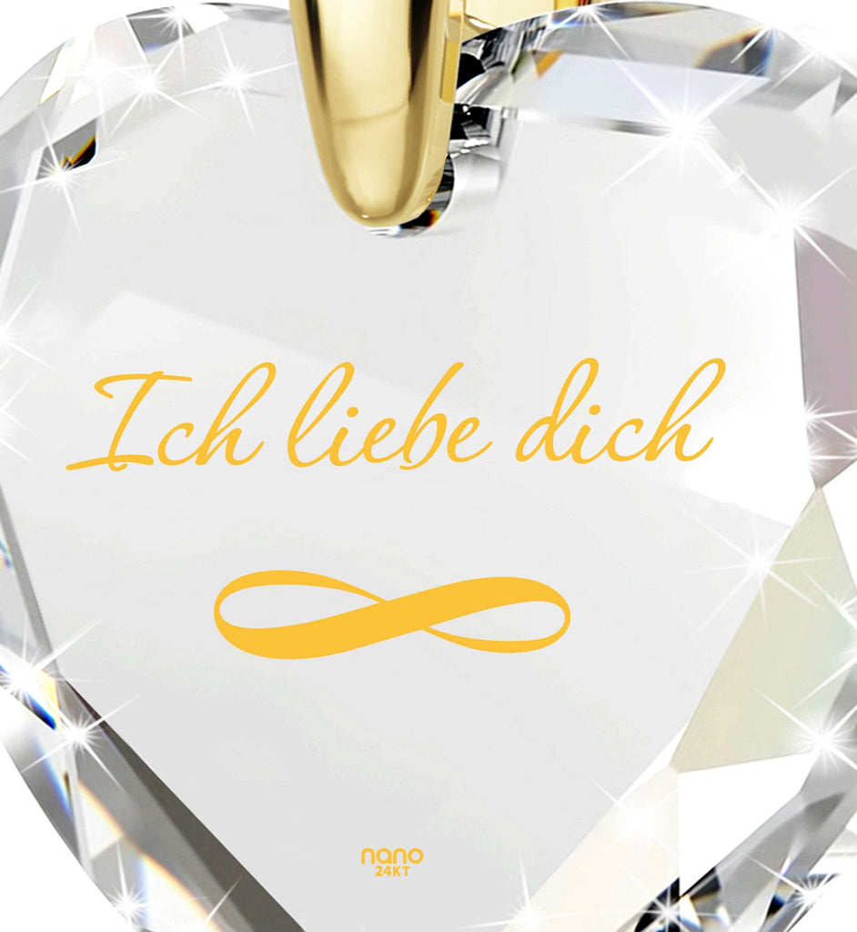 """Women's Xmas Gifts, Real 14k Gold Necklace, ""I Love You"" in German, Valentine's Day Ideas for Her"""