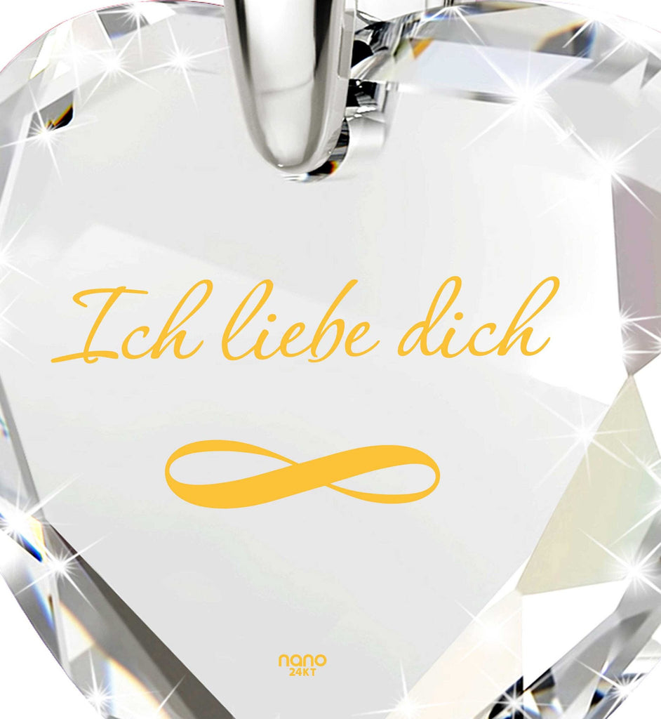"""Women's Xmas Gifts, Real 14k White Gold Necklace, ""I Love You"" in German, Valentine's Day Ideas for Her"""