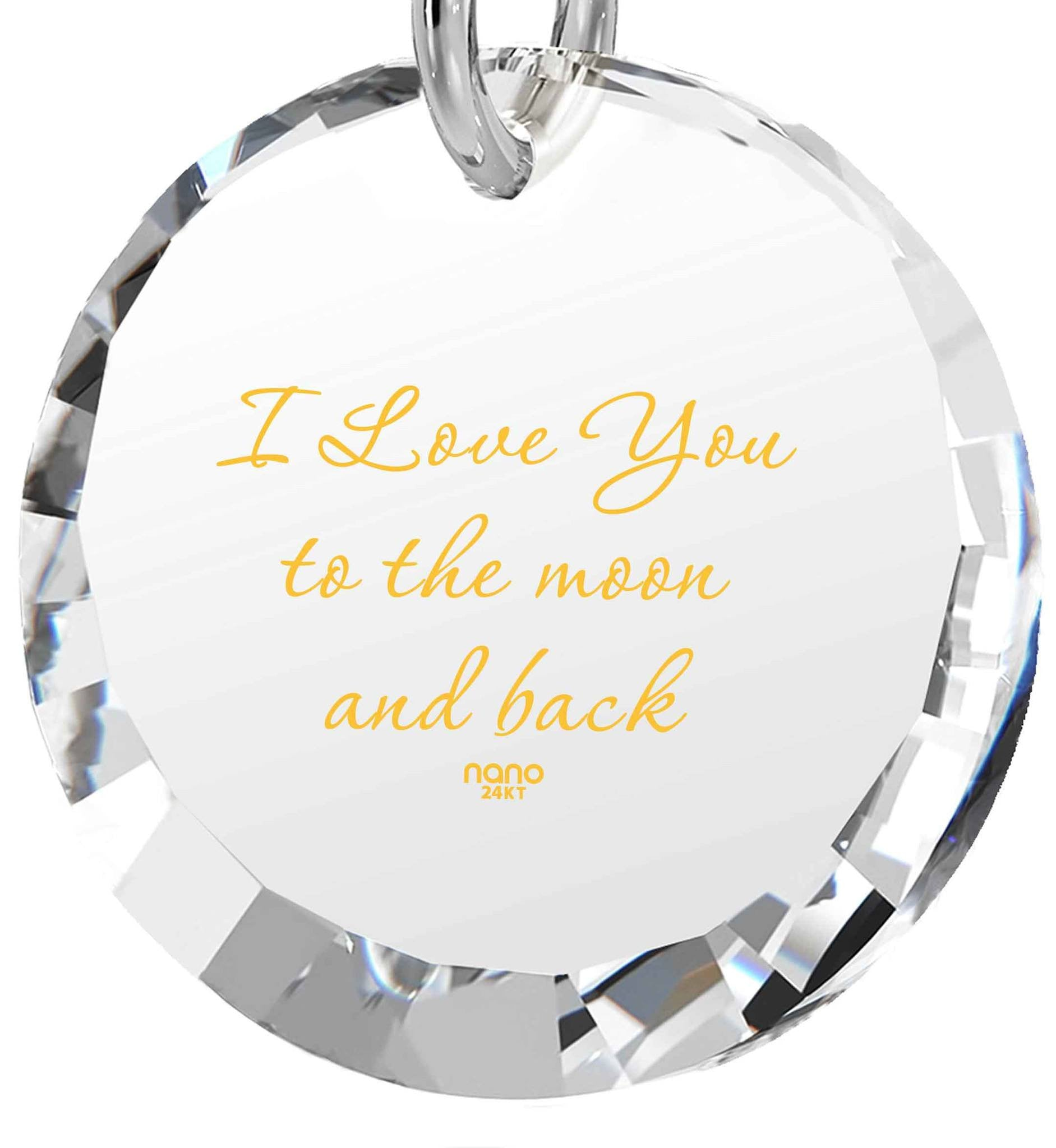 What to Buy My Wife for Christmas,14k White Gold Necklace, I Love You to The Moon and Back Jewelry, Nano