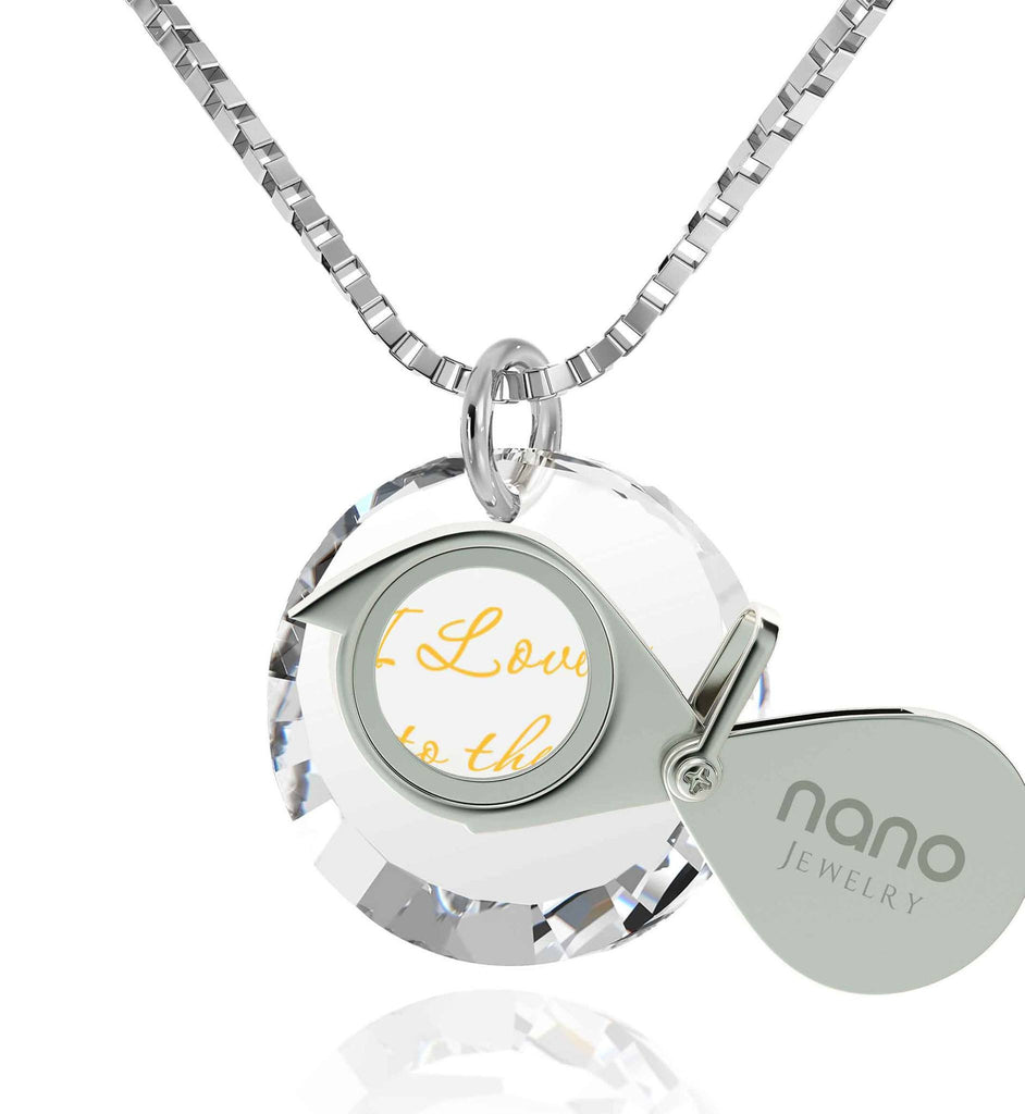 Top Gifts for Wife, 24k Imprint,14k White Gold Necklace, Romantic Birthday Ideas for Girlfriend, Nano Jewelry