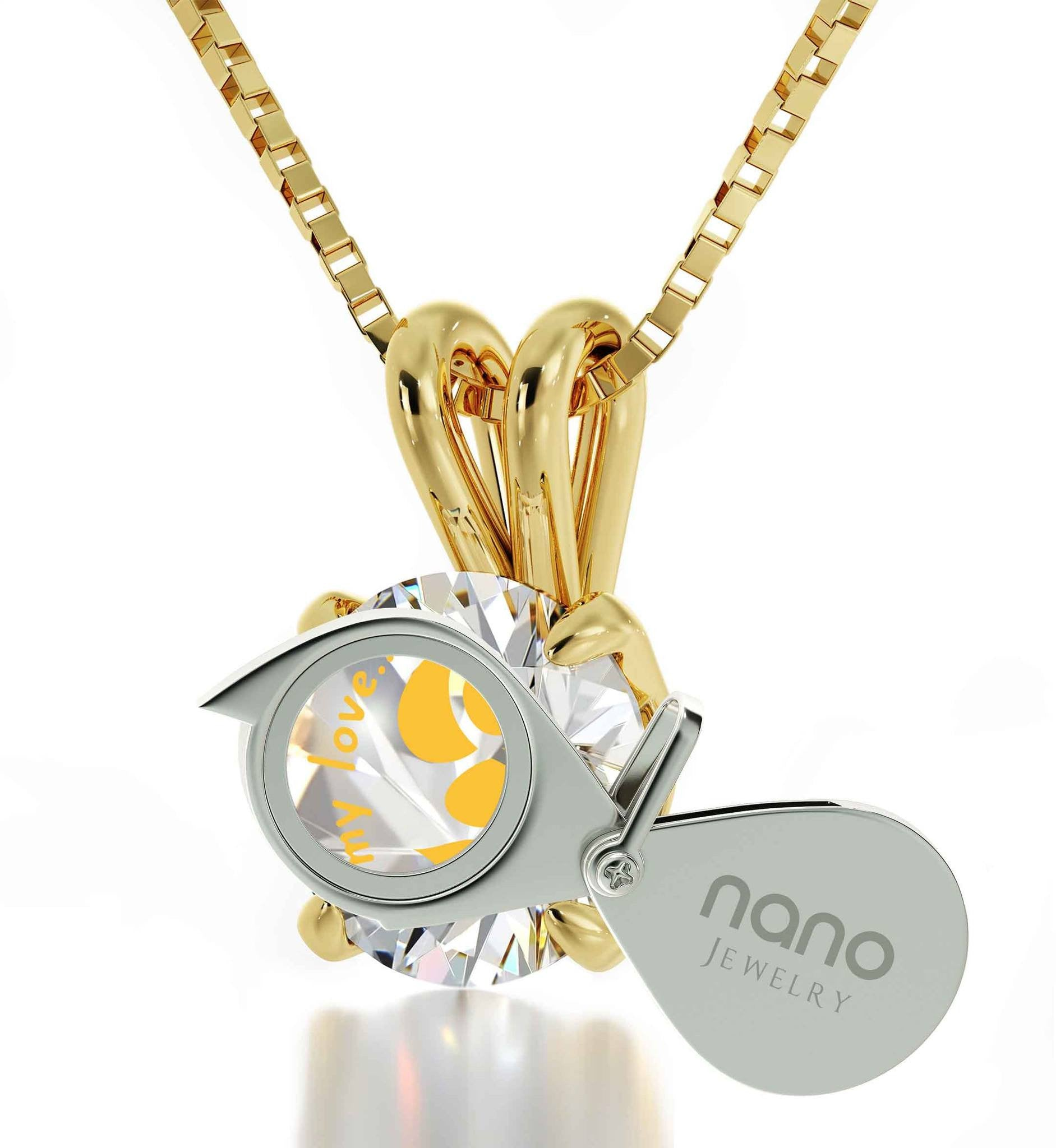 """Xmas Gifts for the Wife, 14k Gold ""Take My Love..."" White Stone Necklace, Valentines Presents for Girlfriend"""