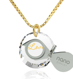 "Xmas Ideas for Her,""I Love You"" Imprinted Stone, 14k Gold Necklace for Women, Nano Jewelry"