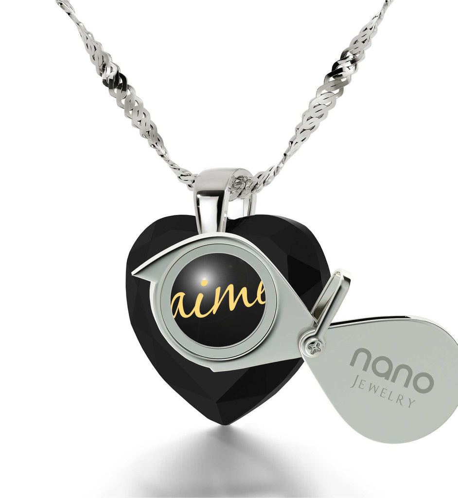 "Xmas Ideas for Her,""Je T'aime"", 14k White Gold Chain, Meaningful Necklaces, Nano Jewelry"